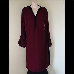 Lane Bryant Dresses - NWOT Lane Bryant Maroon colorblock shirt dress